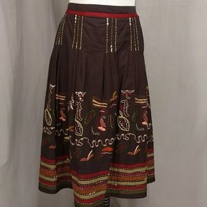 Earth Tones Embroidered Peasant Skirt South AmerLk